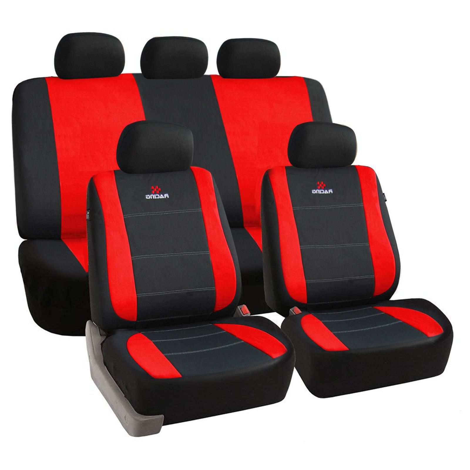 universal sitzbez ge f r auto schonbezug schoner komplettset schwarz rot scsc011 ebay. Black Bedroom Furniture Sets. Home Design Ideas