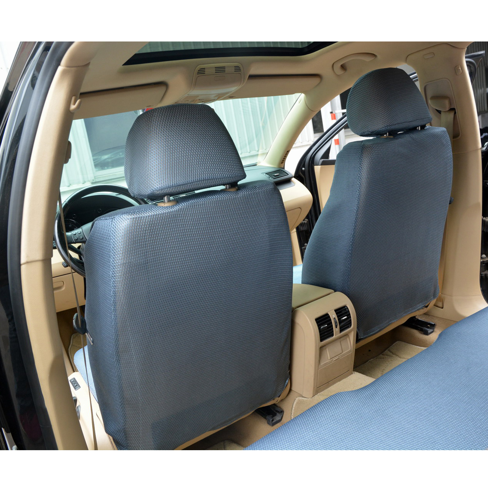 auto schonbezug 12 teillige sitzbez ge f r auto universal schwarz grau scsc0018 ebay. Black Bedroom Furniture Sets. Home Design Ideas