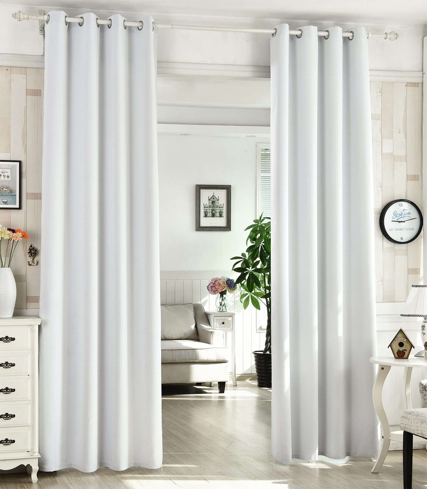 2er gardinen vorhang blickdicht sen leicht verdunklungsvorh nge schal sctn03 a ebay. Black Bedroom Furniture Sets. Home Design Ideas